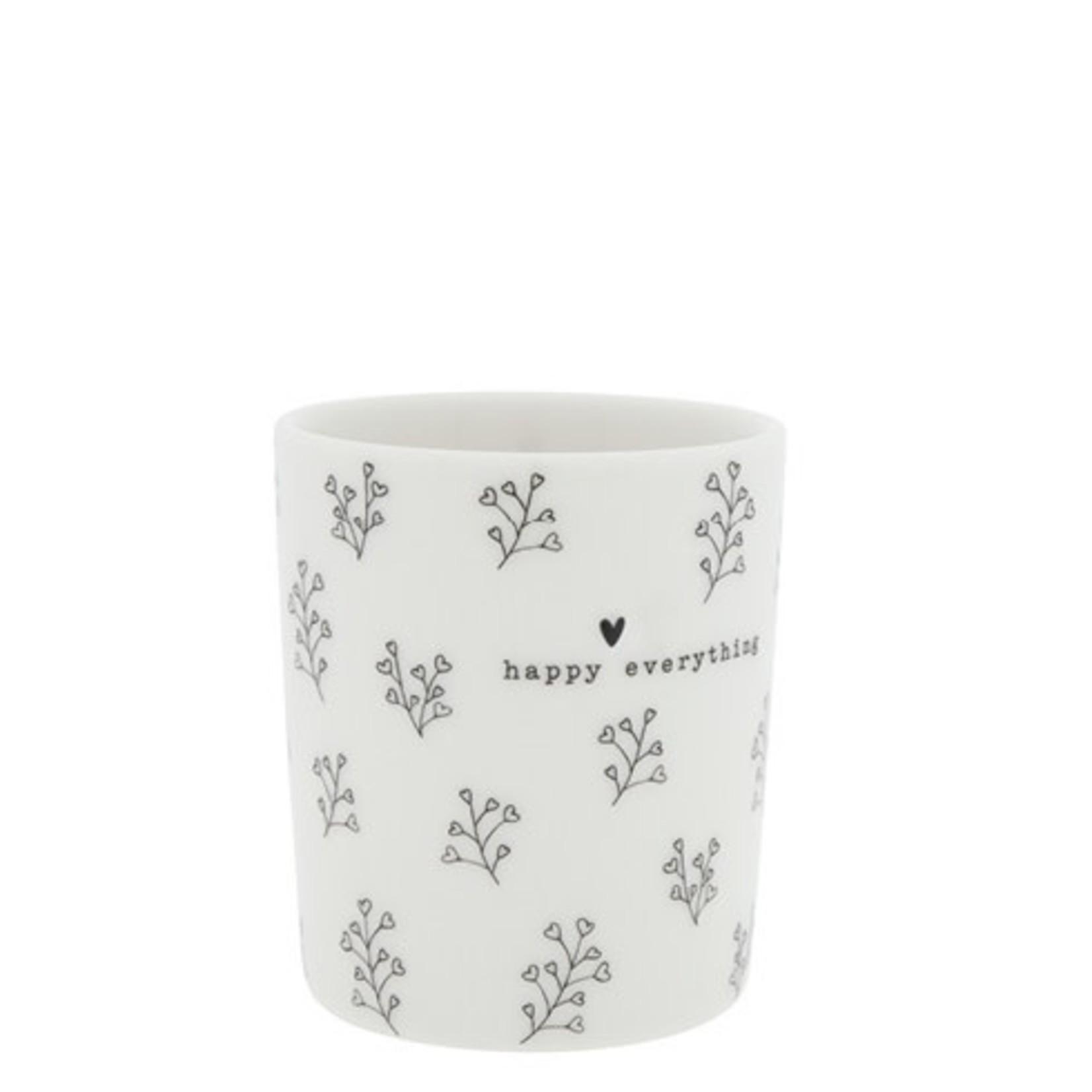 Bastion Collections Mug Happy everything flowers white/black 8x8x9 cm