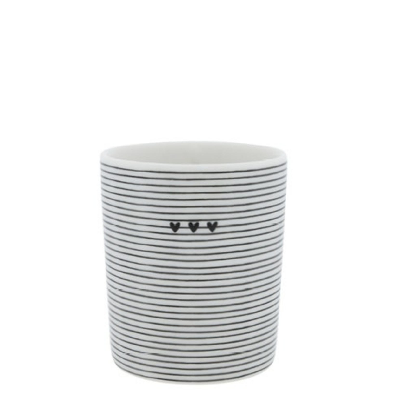 Bastion Collections Mug stripes/3 hearts white/black 8x8x9 cm