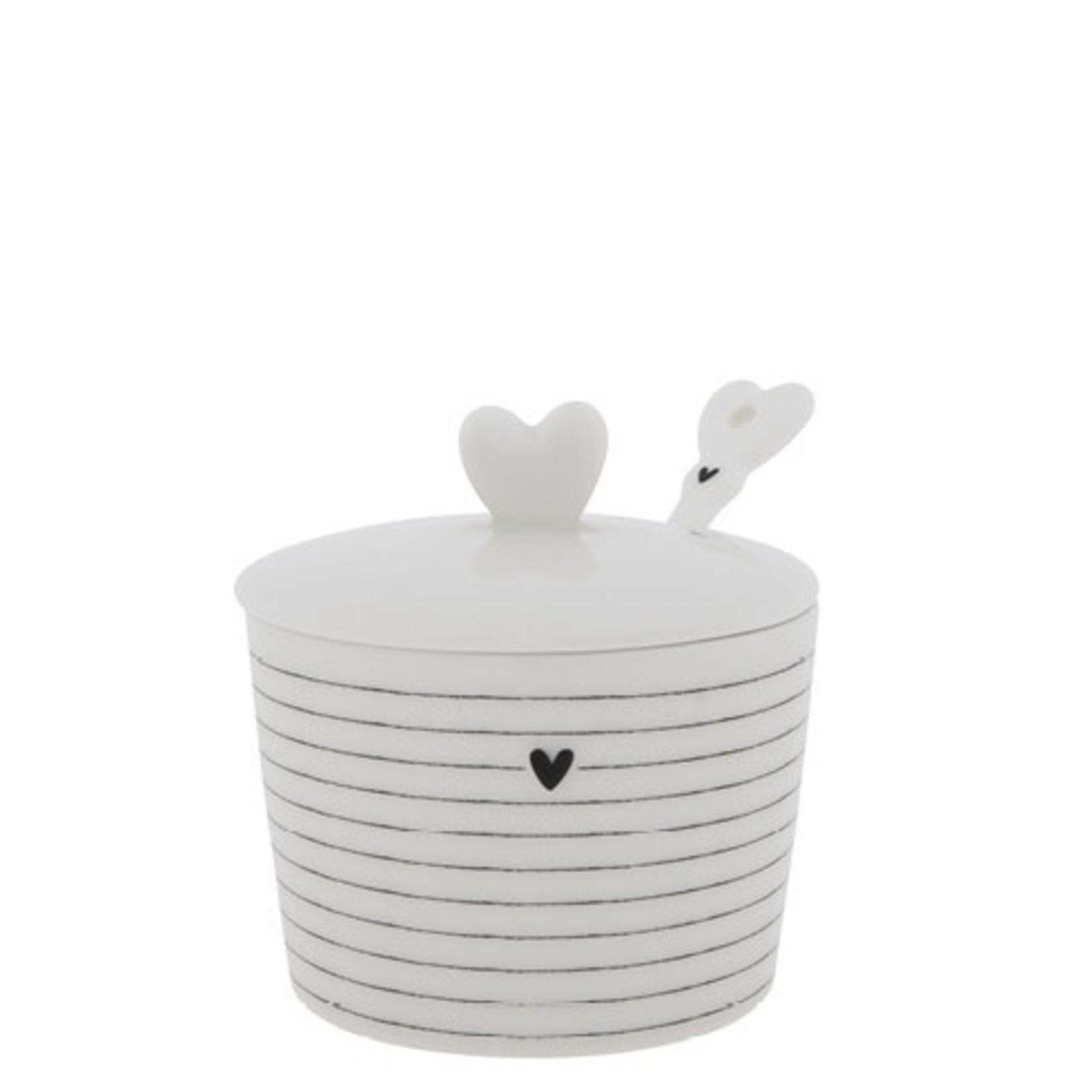 Bastion Collections Sugar Bowl stripes/heart white/black7x8.5x7 cm