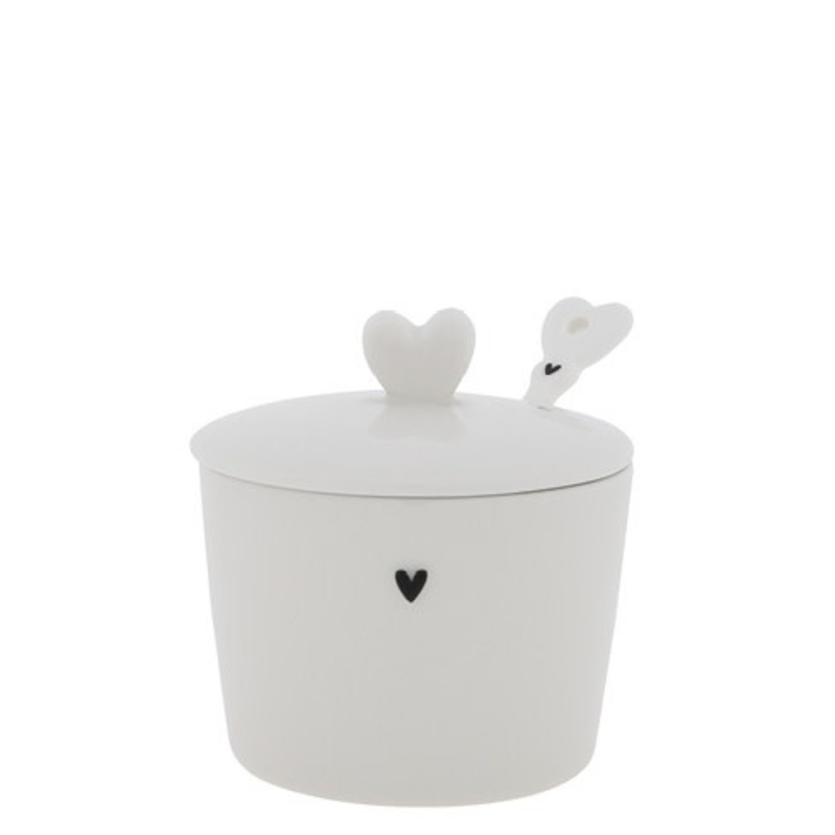 Bastion Collections Sugar Bowl hearts black/white 7x8.5x7 cm