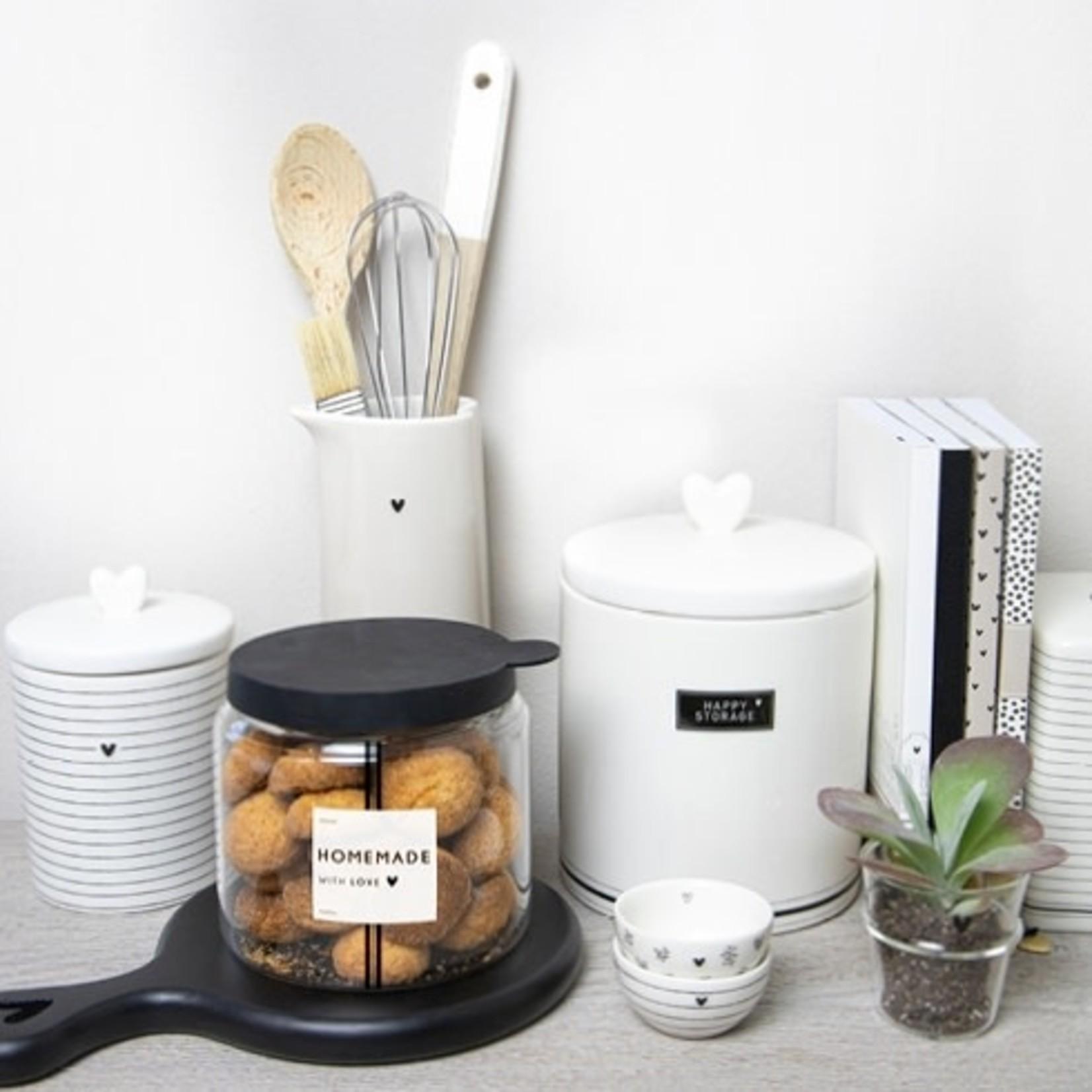 Bastion Collections Jar Large Happy Storage White/Black ( 1e van 2 )