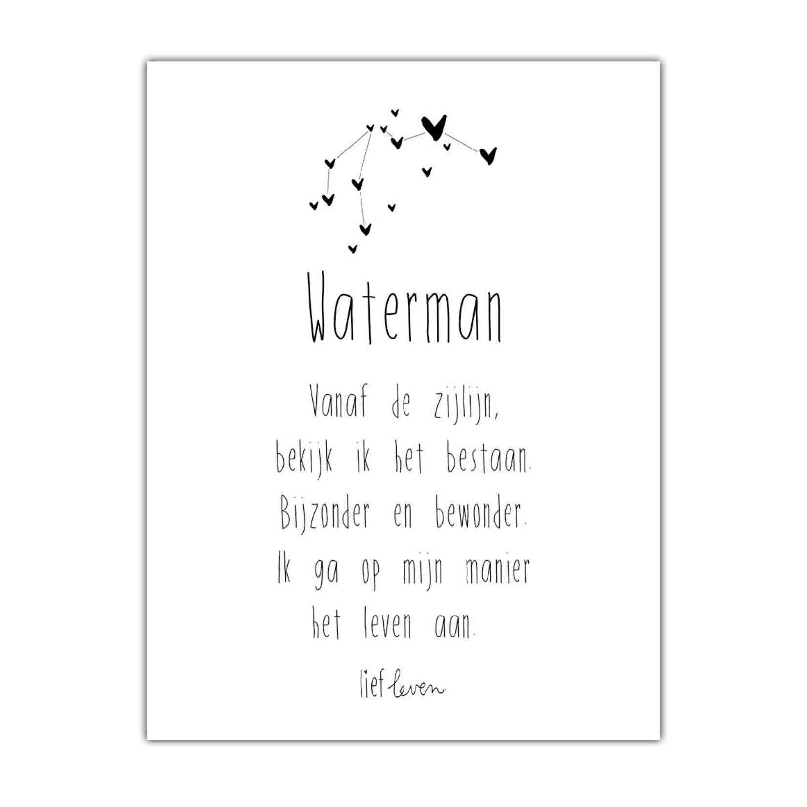 Lief Leven Kaart/Poster  A5 Sterrenbeeld Waterman