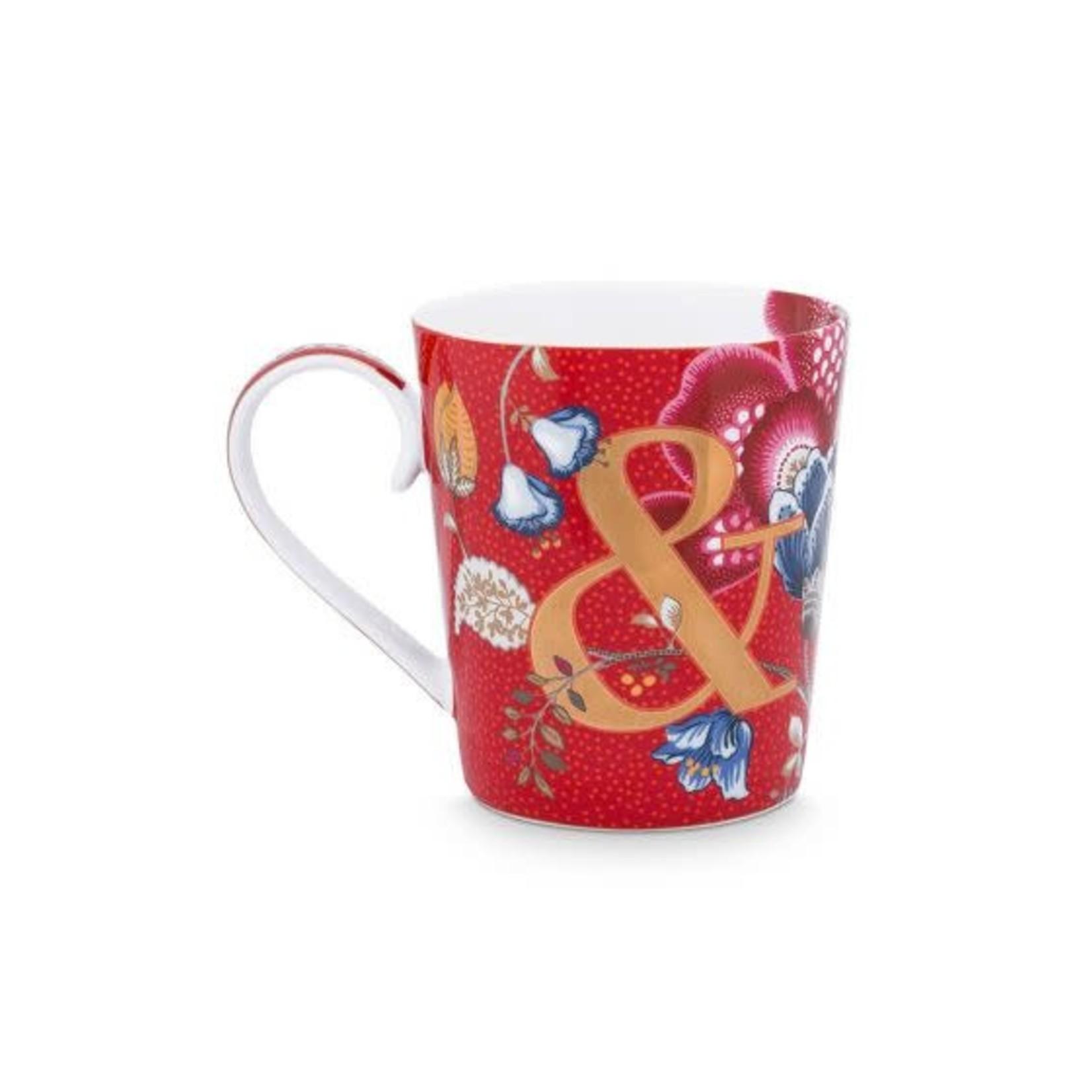 PIP Studio Alphabet Mug Blushing Birds Red & 350ml