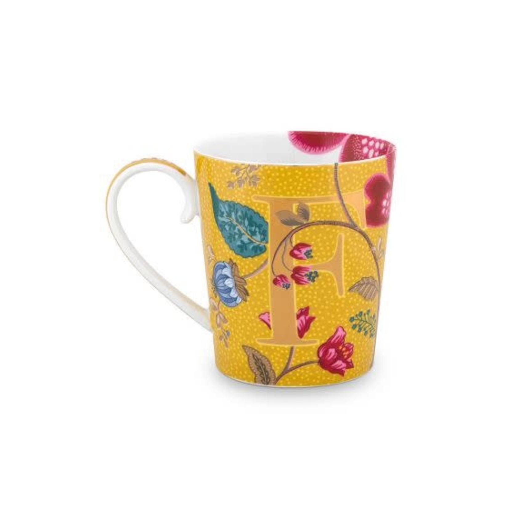 PIP Studio Alphabet Mug Blushing Birds Yellow F 350ml