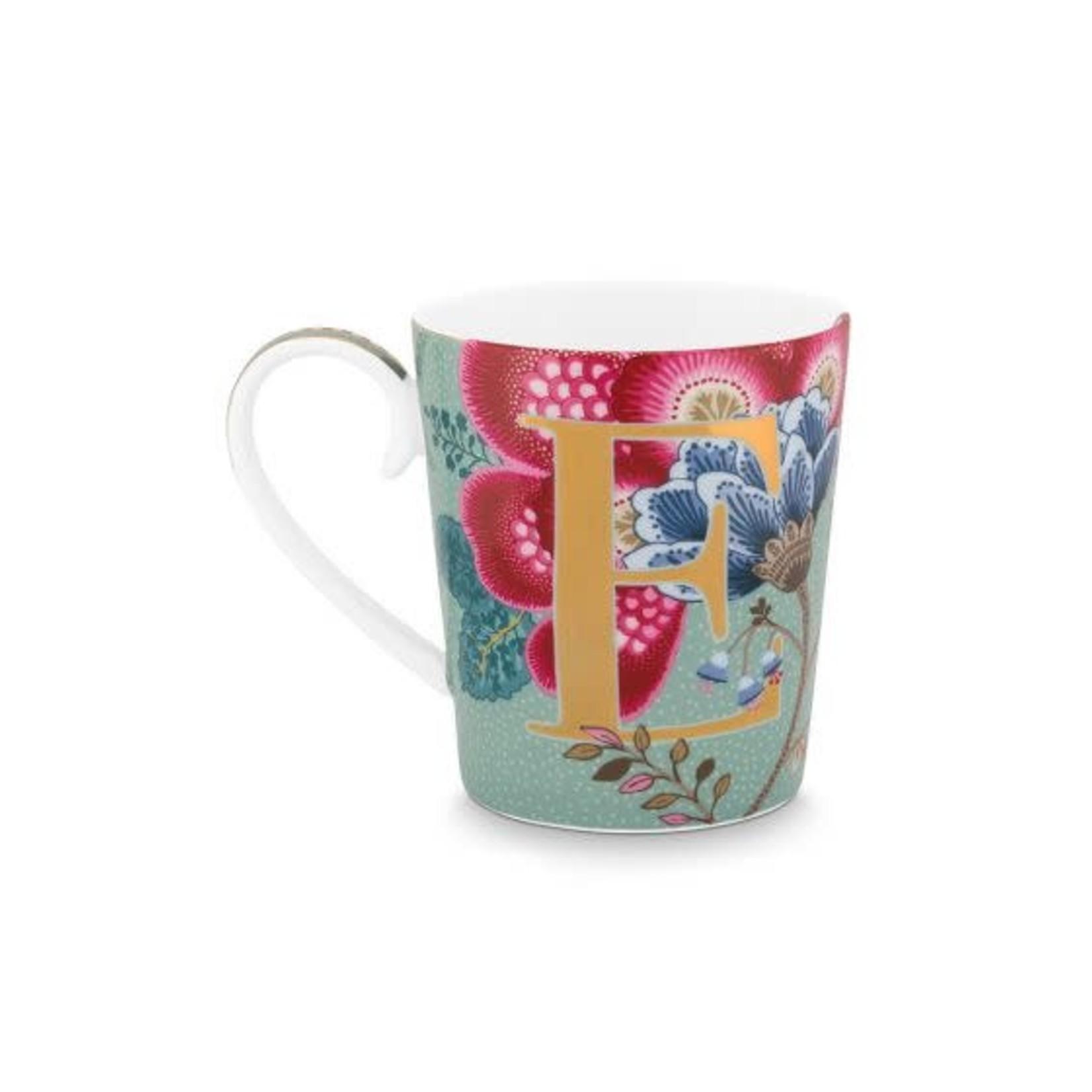 Pip Studio Alphabet Mugs Alphabet Mug Floral Fantasy Light Blue E 350ml