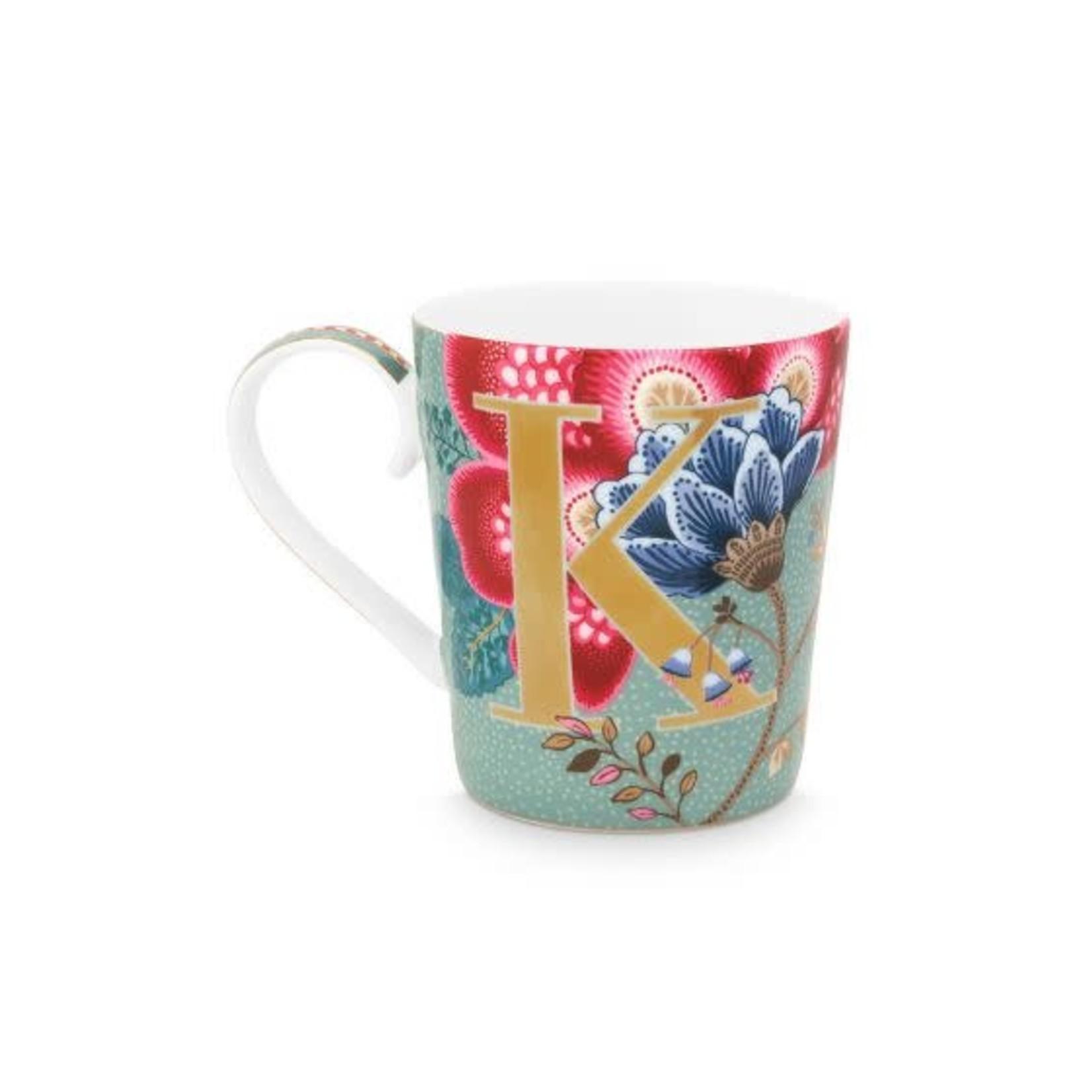 Pip Studio Alphabet Mugs Alphabet Mug Floral Fantasy Light Blue K 350ml