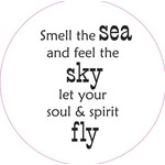 Home Sweet Home Muurcirkel Smell the sea and feel the sky ... 30cm