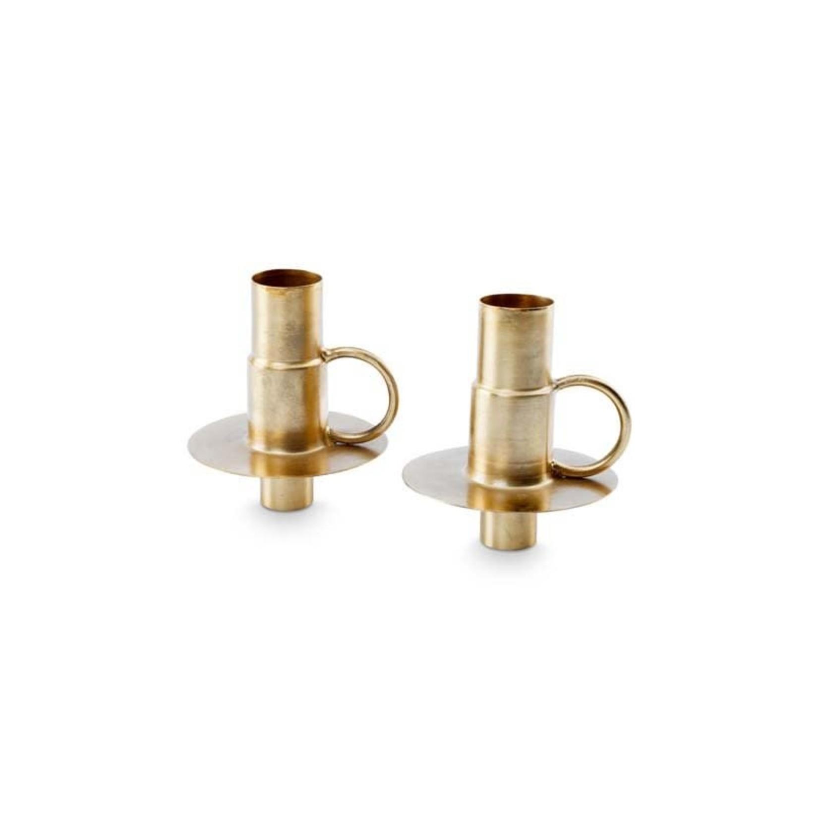 vtwonen Basic collection Bottle Candle Holder Metal Gold 7x8.5cm Per stuk