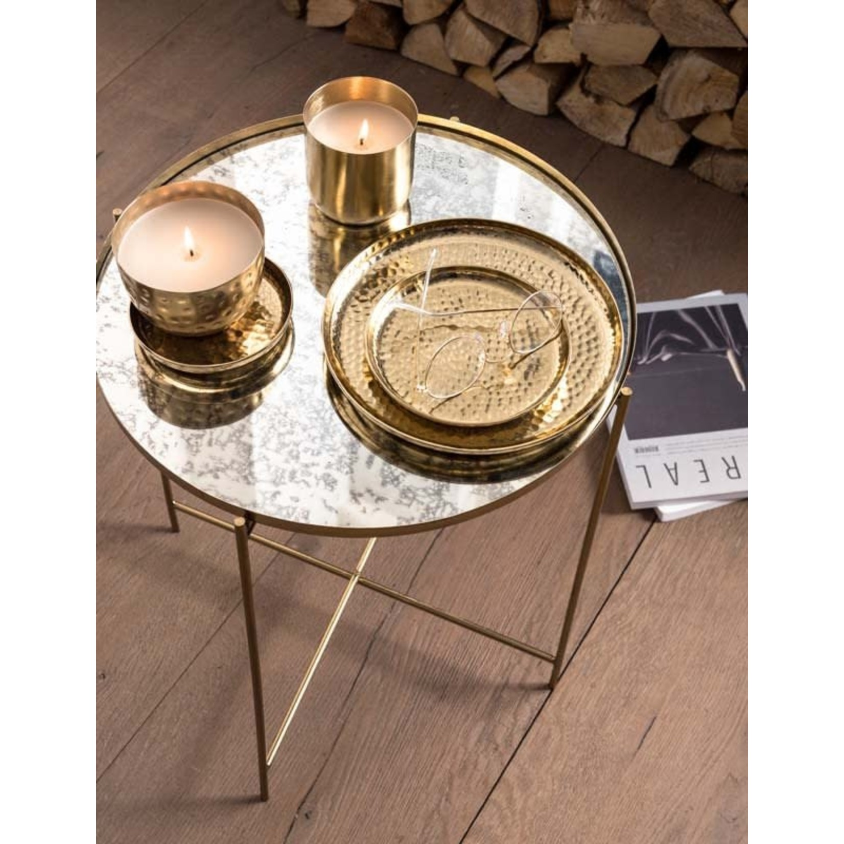 vtwonen Basic collection Plate Metal Gold 22cm
