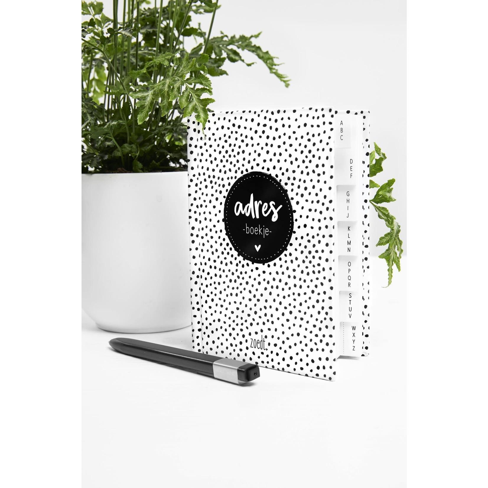 Zoedt Zoedt Adresboekje met zwart wit dots