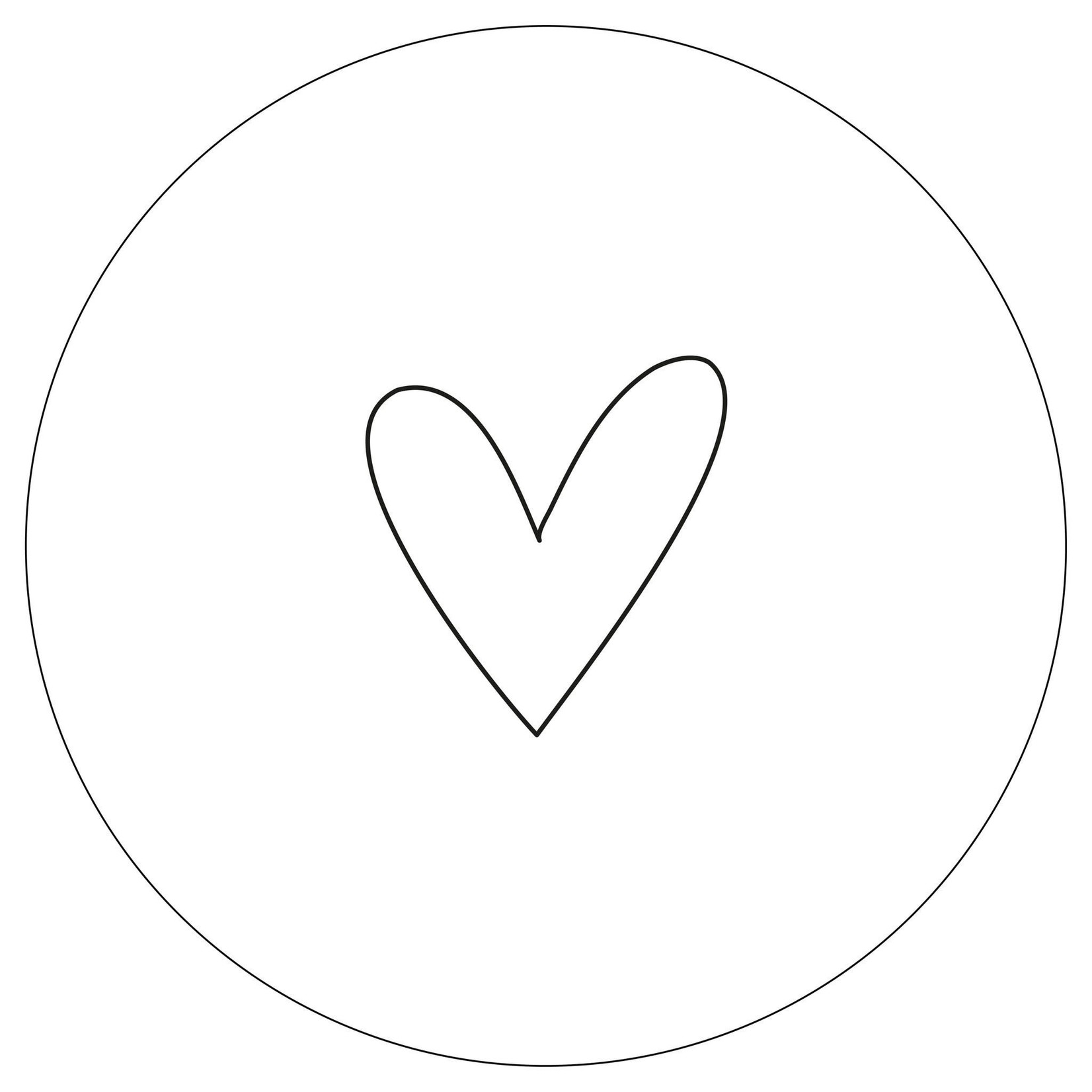 Zoedt Muurcirkel wit met zwart hartje 20x20cm