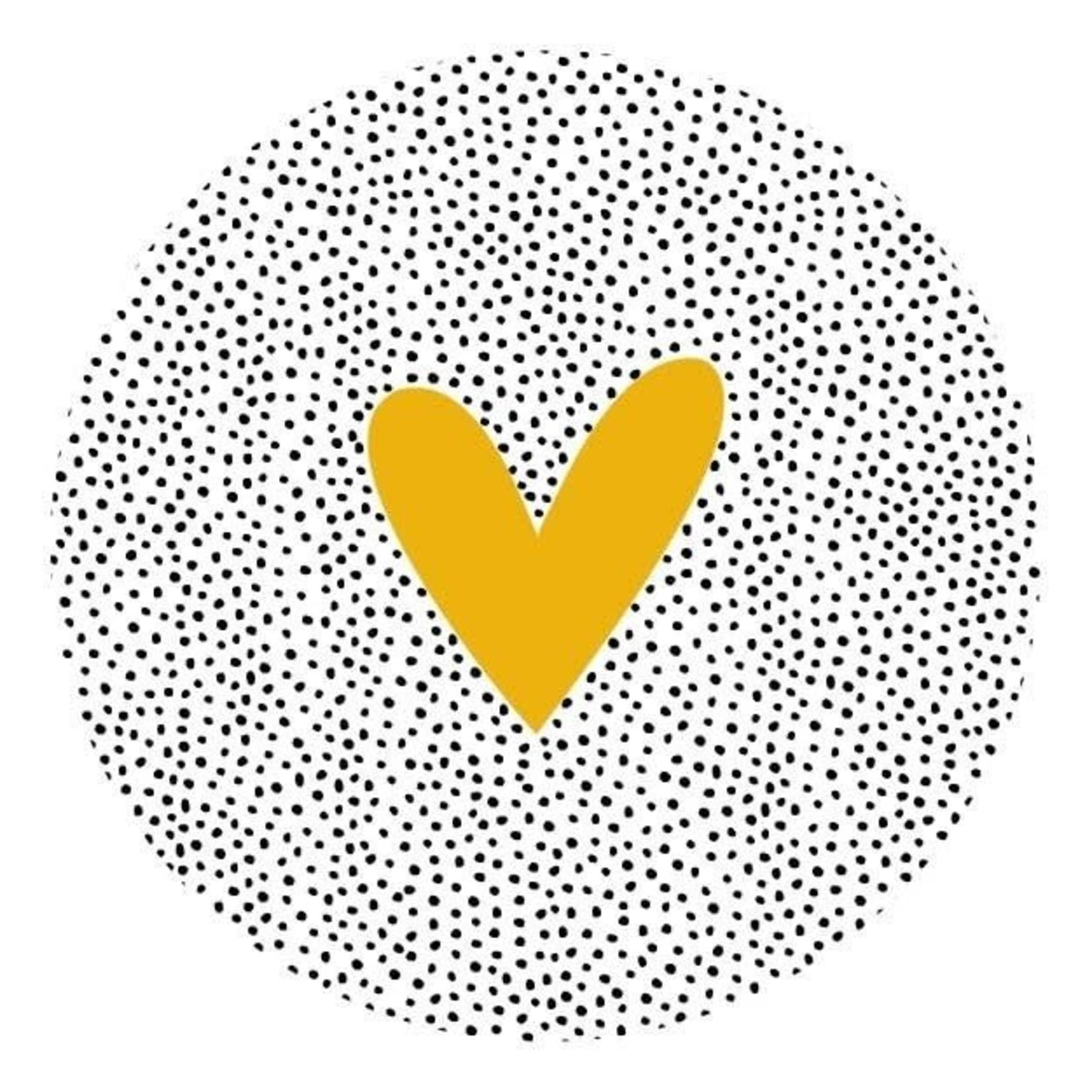 Zoedt Muurcirkel dots en okergeel hart 20x20cm