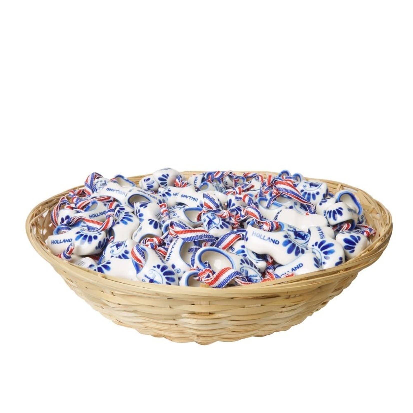 Heinen Delfts Blauw Klompjes aan lint 4 cm