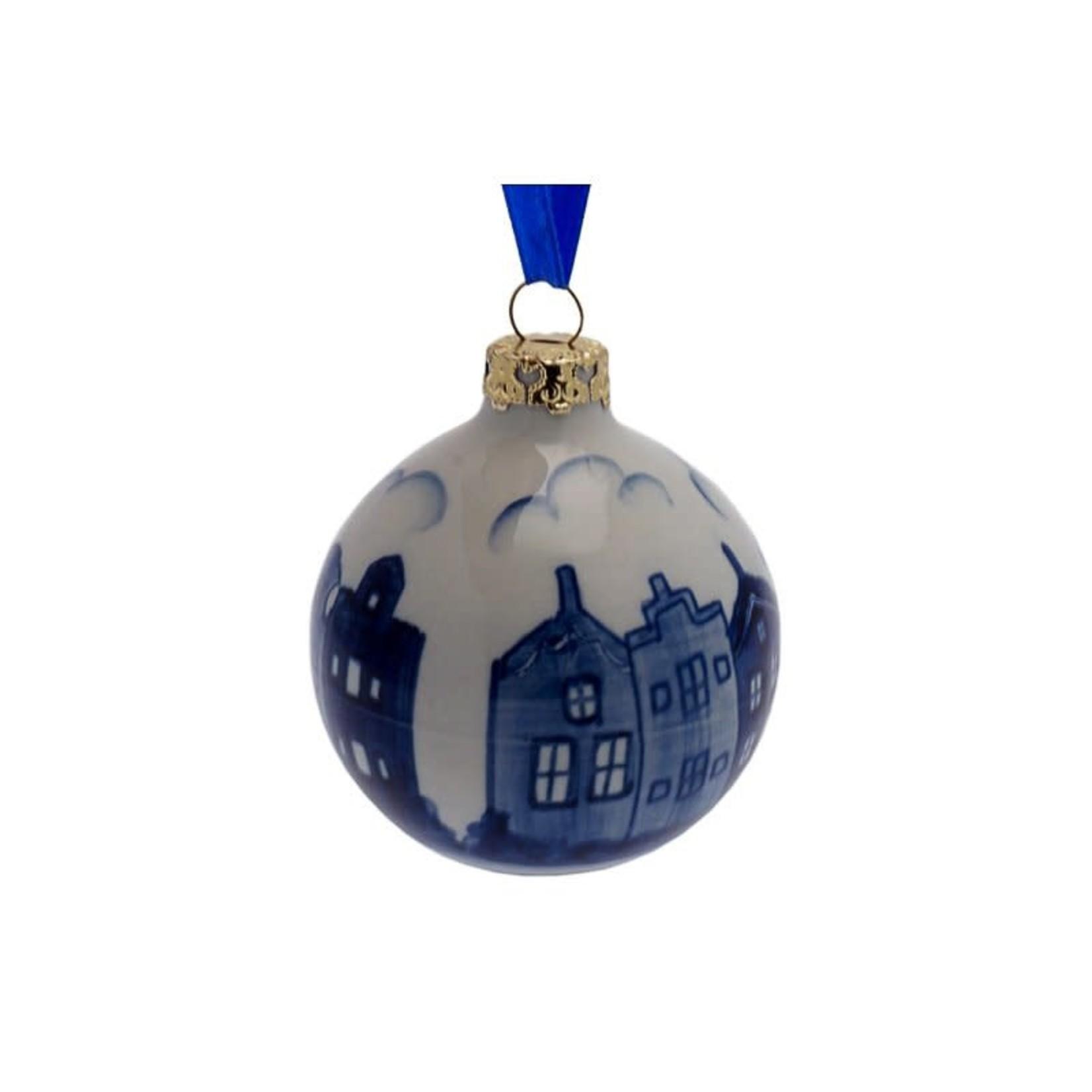 Heinen Delfts Blauw Kerstbal Grachtenpanden