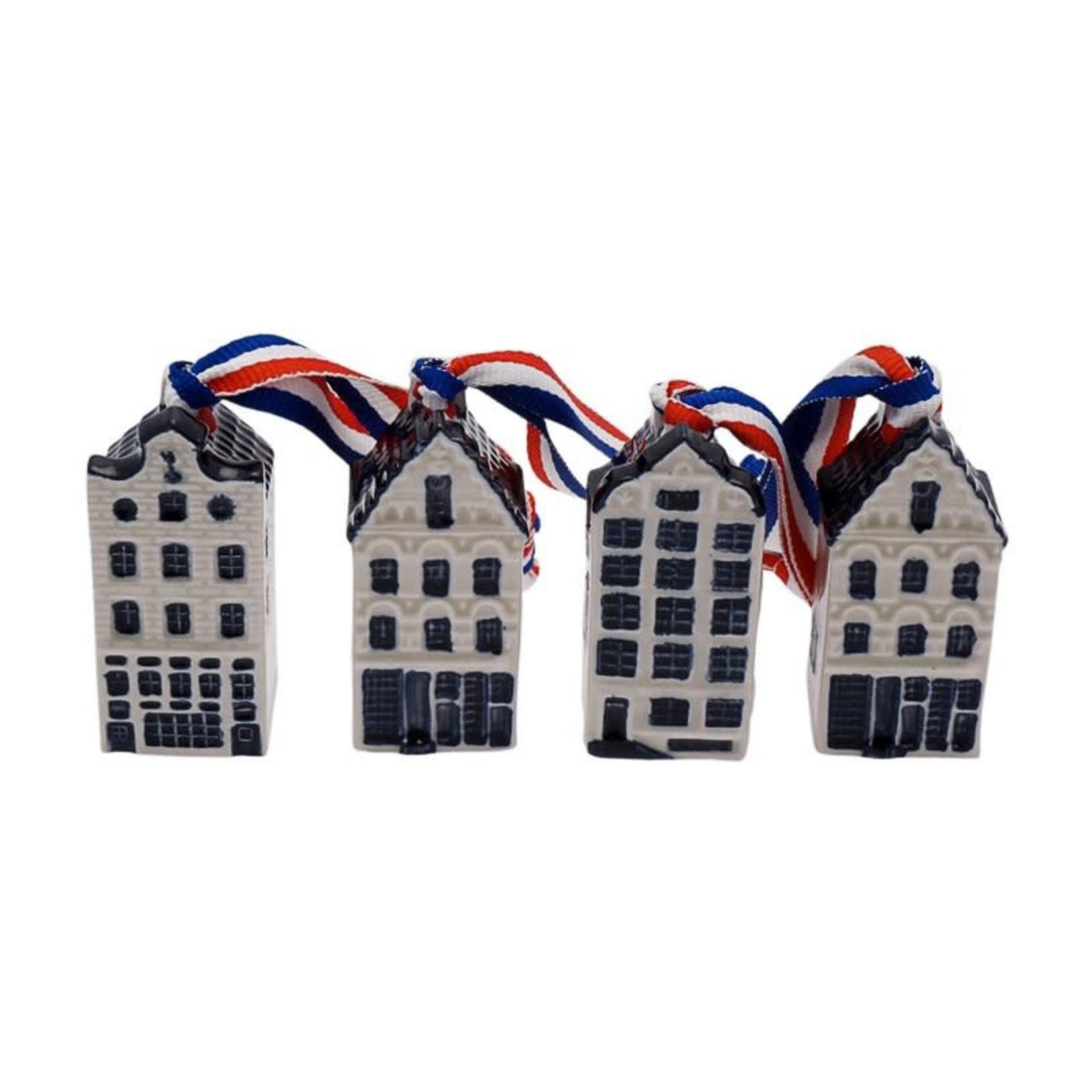 Heinen Delfts Blauw Mini huisjes met lint