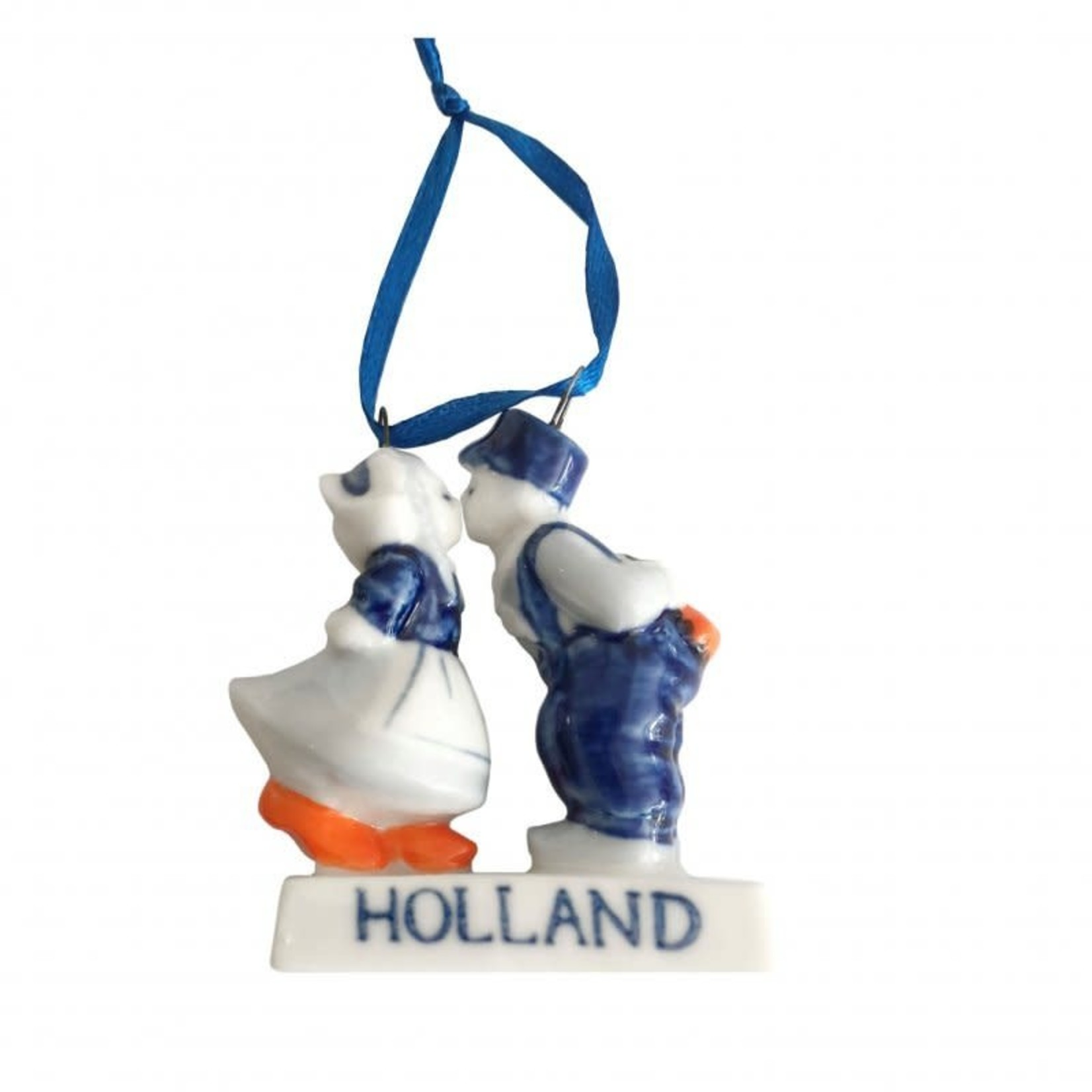 Heinen Delfts Blauw Kussend paar aan lint