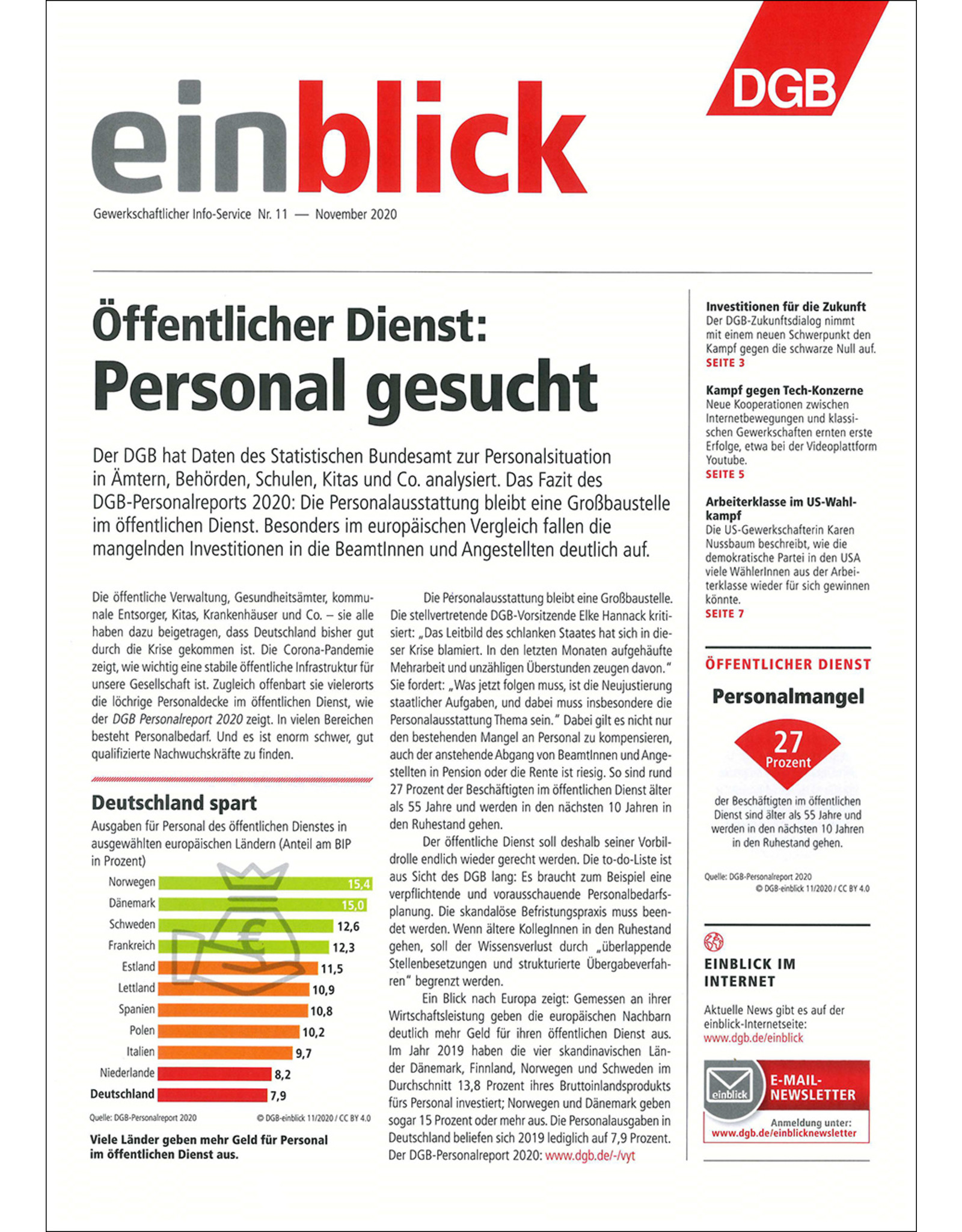 Zeitung einblick November 11/2020