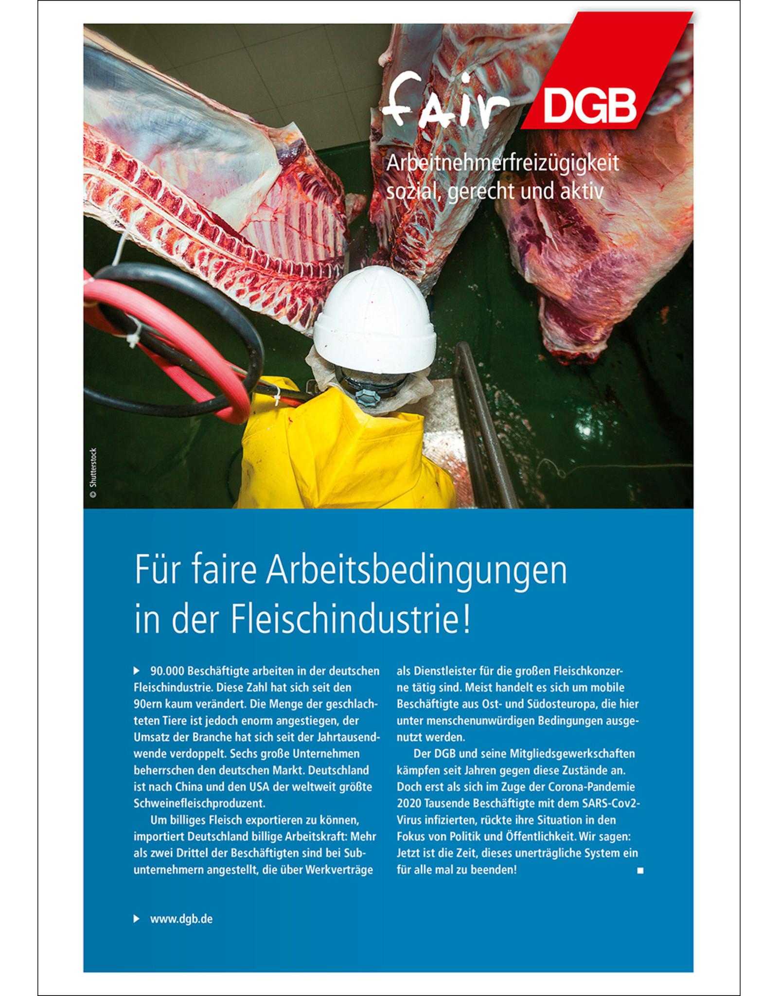 DGB-Faltblatt Arbeitsbedingungen in  der Fleischindustrie - A4,6 Seiten