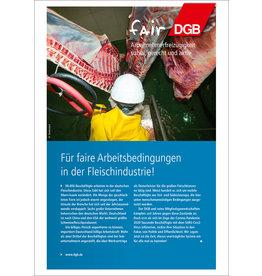 Faltblatt Arbeitsbedingungen in  der Fleischindustrie