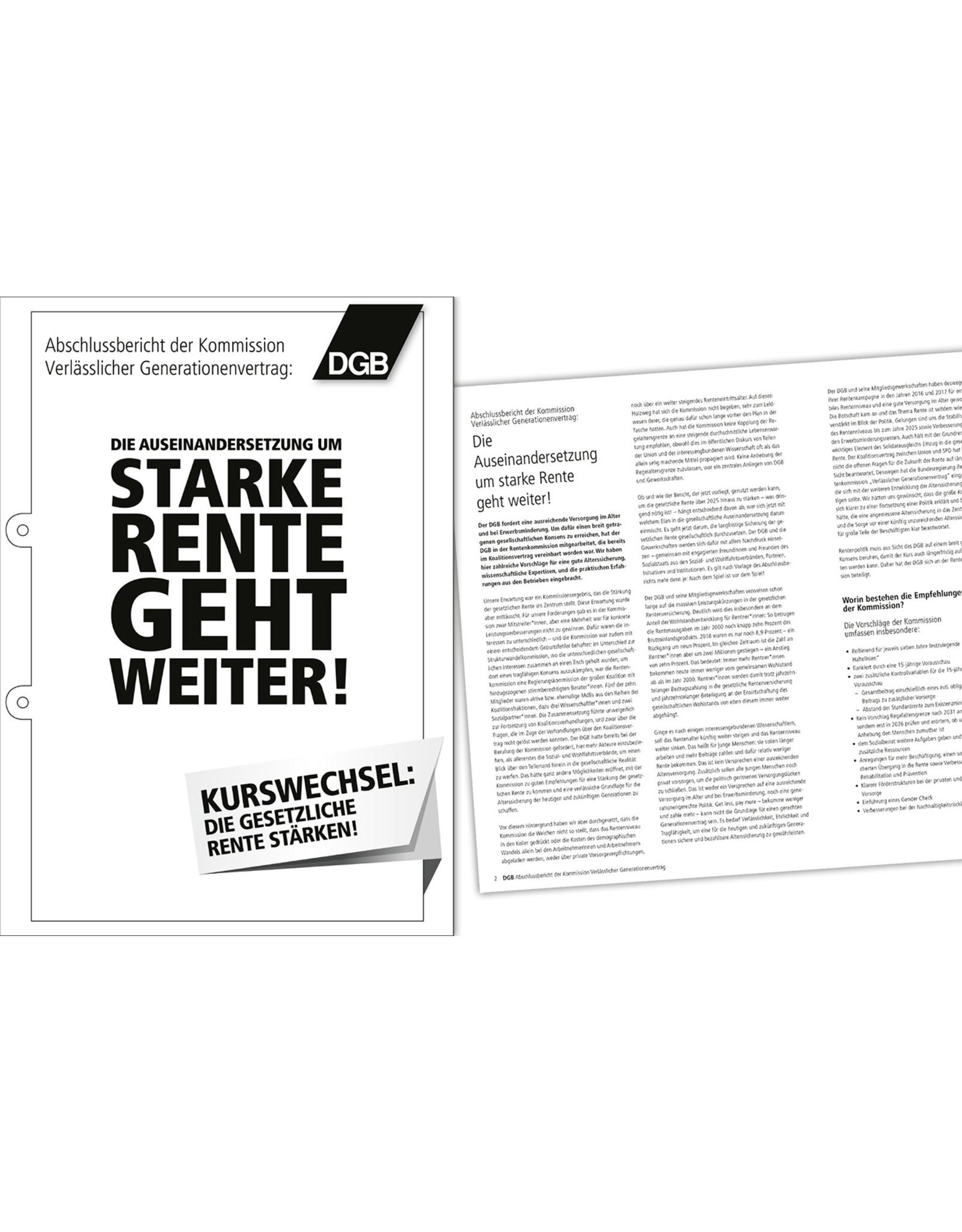 DGB  Ergänzungen zum Rentenbericht DIN A4, 6 Seiten