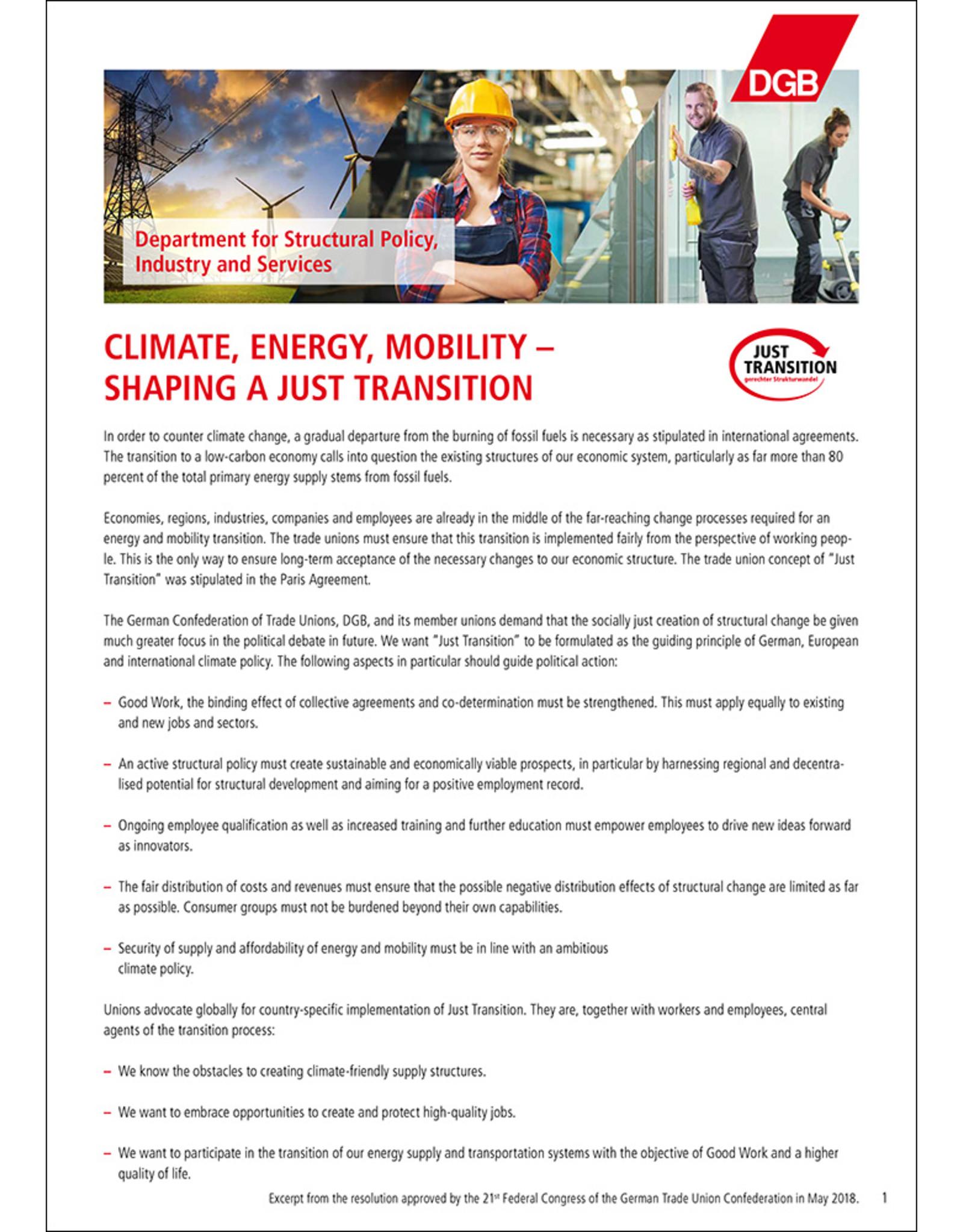 DGB-Shortpaper Climate, Energy, Mobility