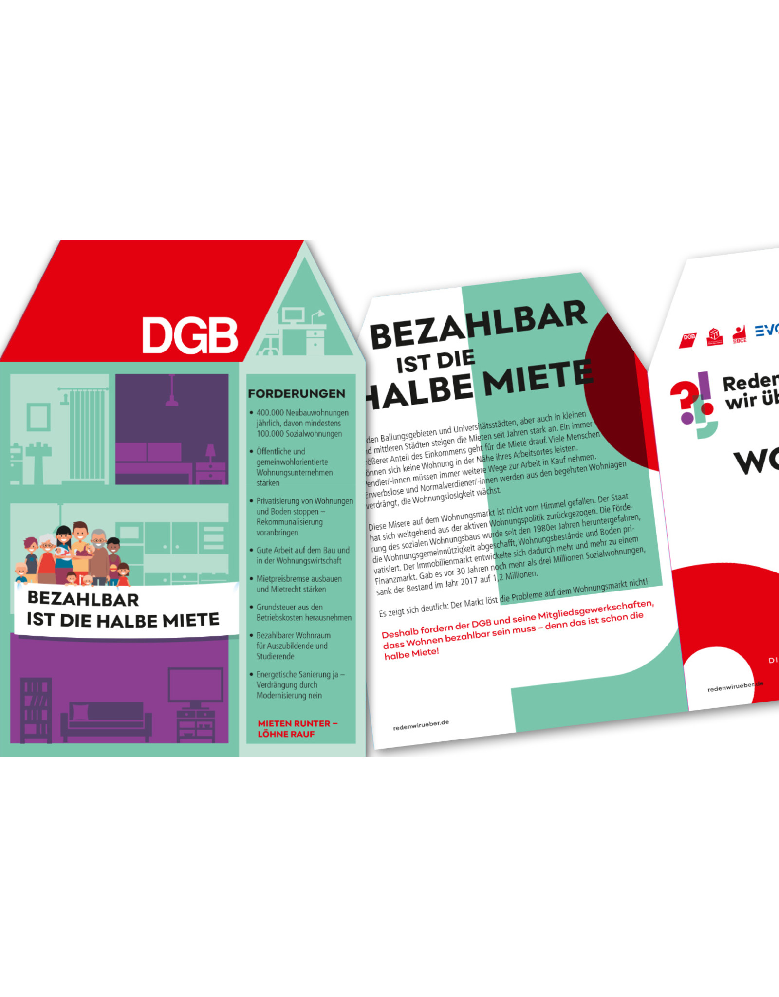 DGB / Zukunftsdialog Flyer Bezahlbar ist die halbe Miete