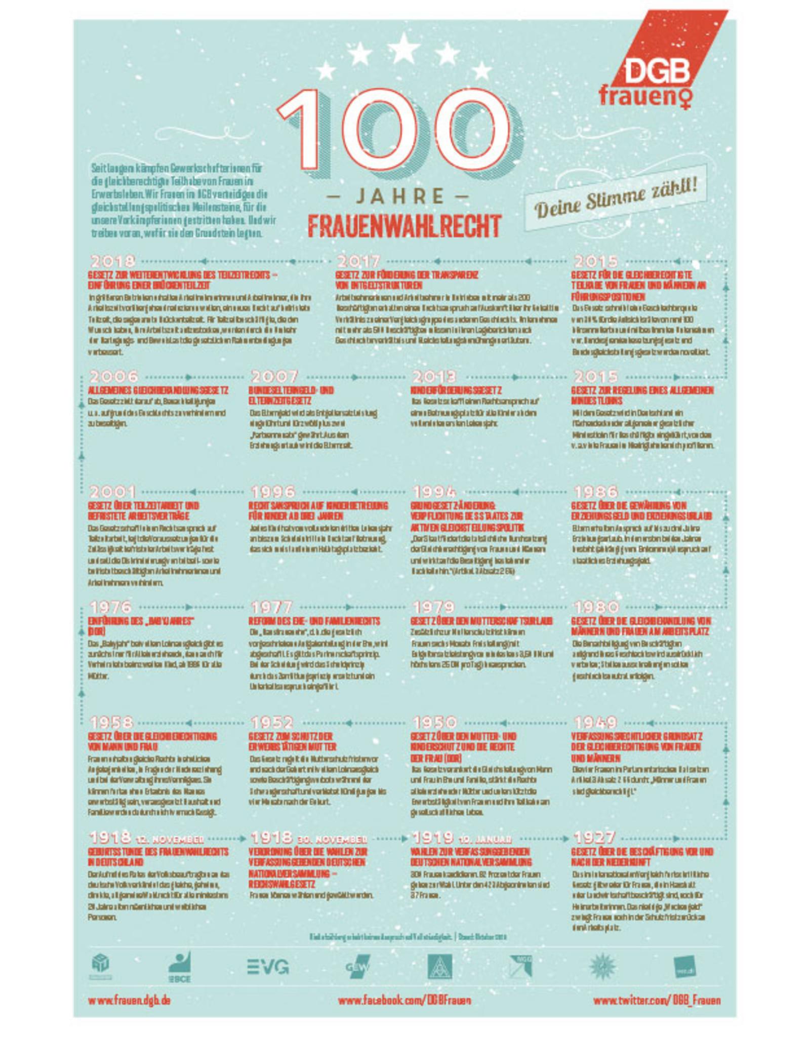 Poster zum 100-jährigen Jubiläum des Frauenwahlrechts - Gleichstellungspolitische Erfolge.