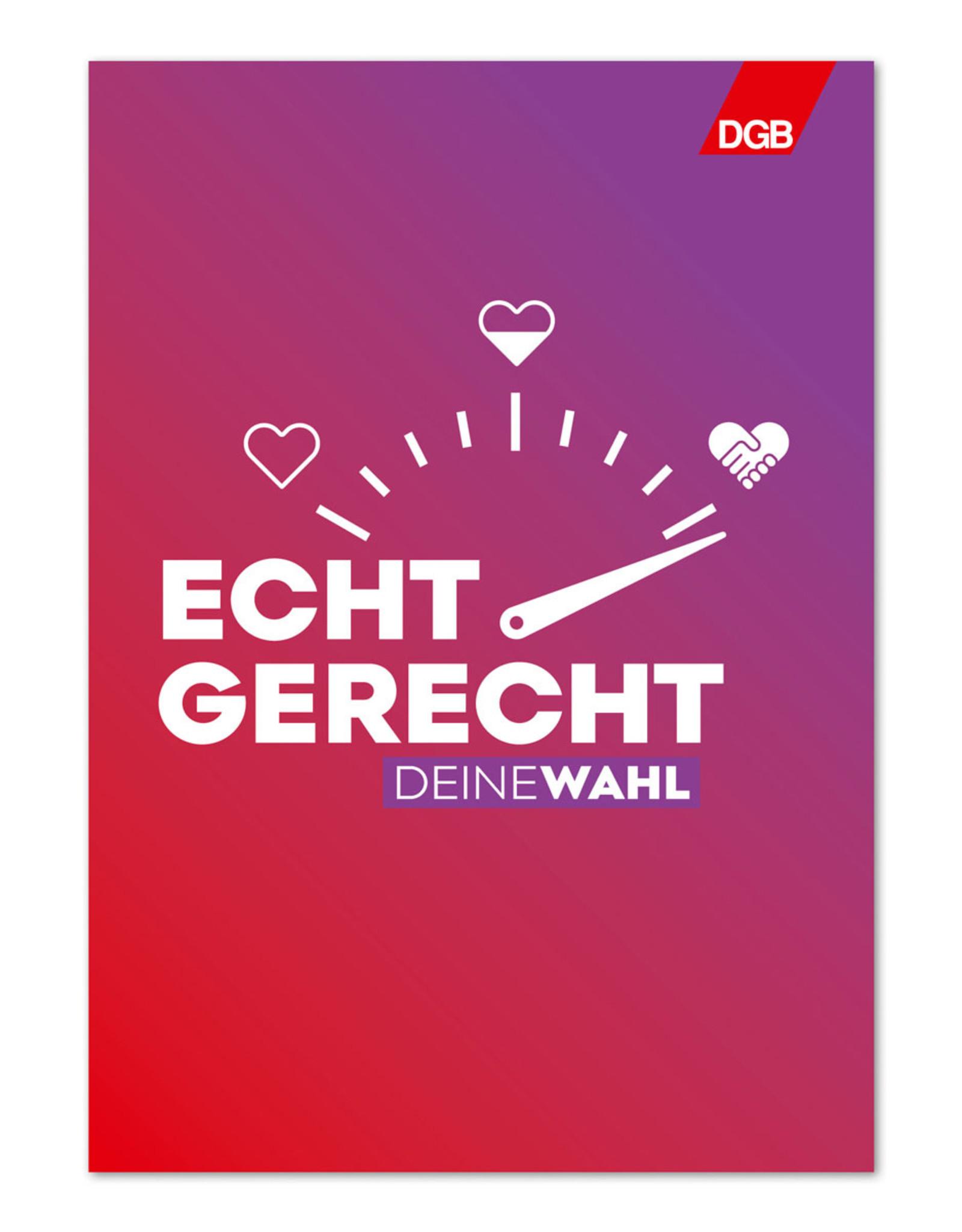 """Plakat """"Echt gerecht"""" (rot-lila) zur Bundestagswahl-Kampagne """"Echt gerecht"""" 2021 DIN A1"""