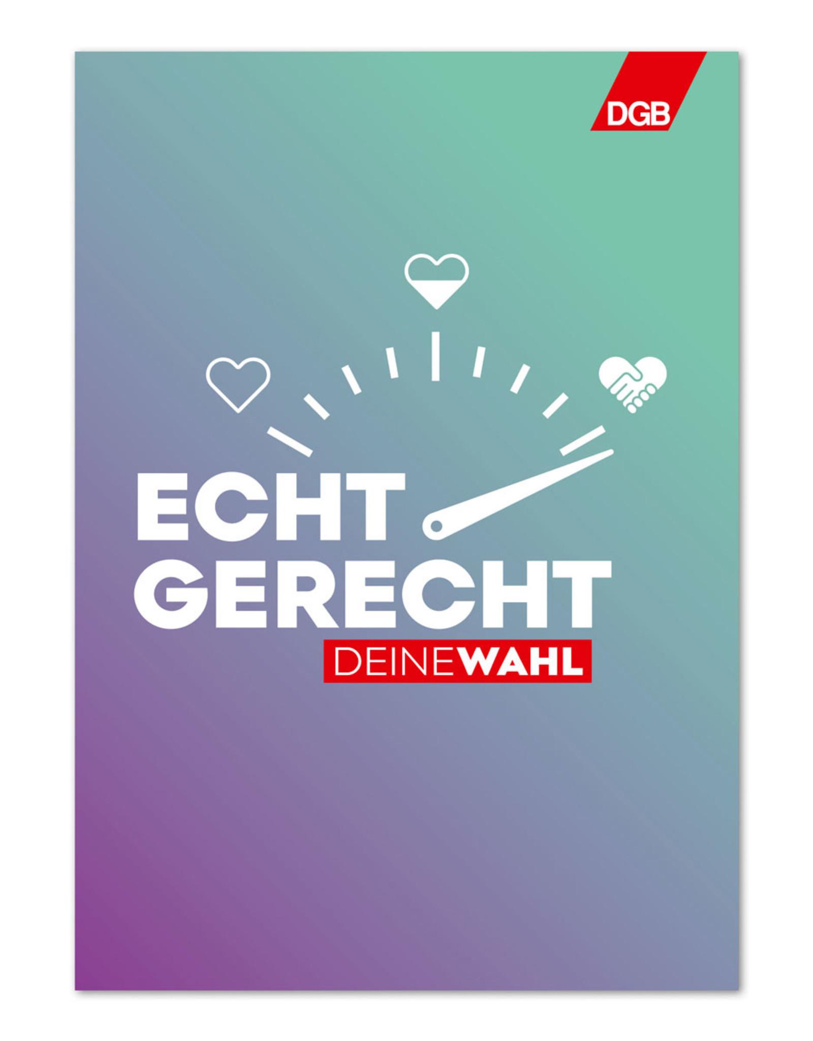"""Plakat """"Echt gerecht"""" (lila-grün) zur Bundestagswahl-Kampagne """"Echt gerecht"""" 2021 DIN A1"""
