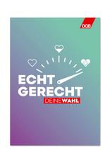 """Plakat """"Echt gerecht"""" (lila-grün) zur Bundestagswahl-Kampagne """"Echt gerecht"""" 2021 DIN A2"""