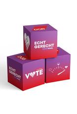 """Pappwürfel zur Bundestagswahl-Kampagne """"Echt gerecht"""" 2021"""