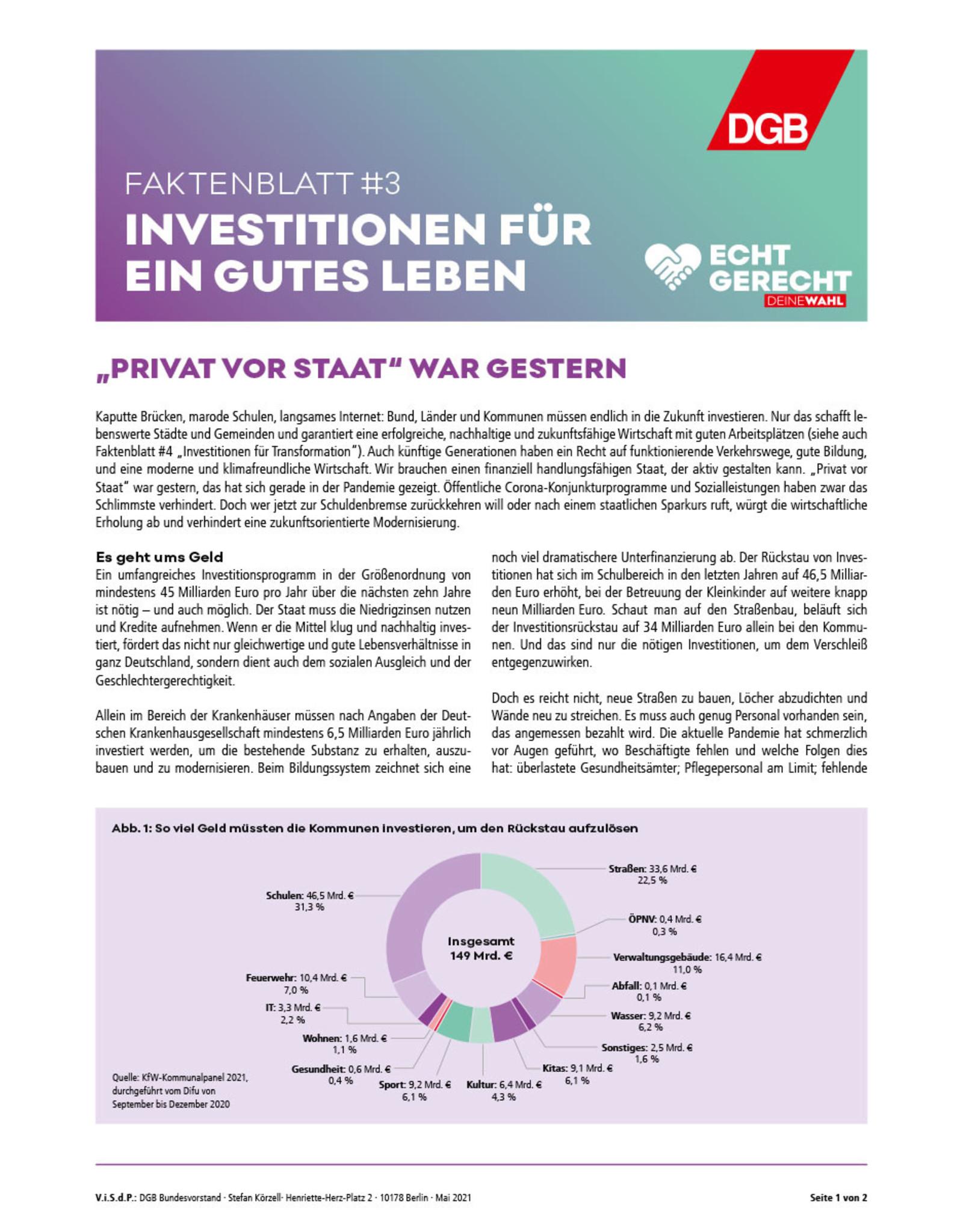 """Faktenblatt #3 Investitionen für ein gutes Leben zur Bundestagswahl-Kampagne """"Echt gerecht"""" 2021"""