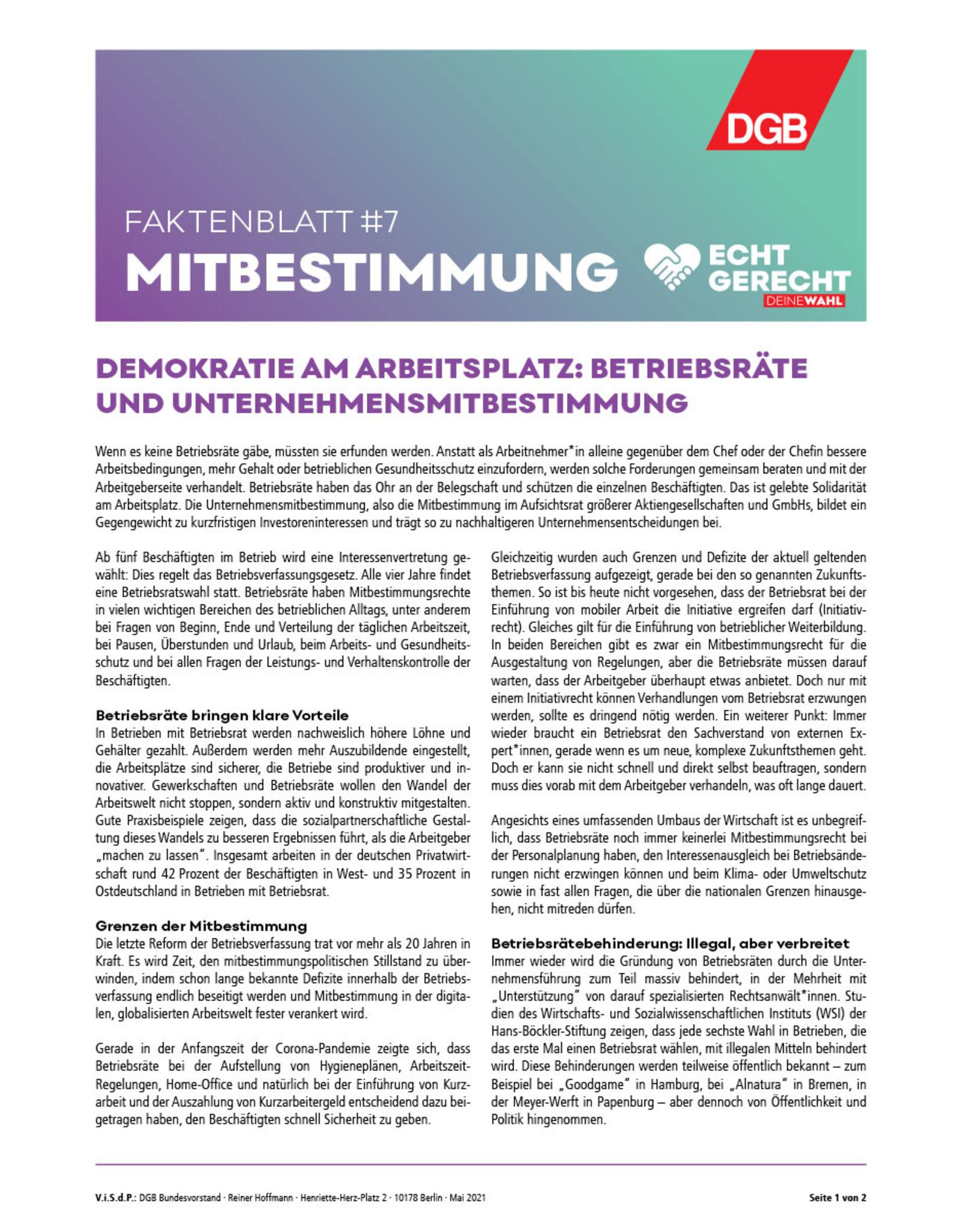 """Faktenblatt #7 Mitbestimmung zur Bundestagswahl-Kampagne """"Echt gerecht"""" 2021"""