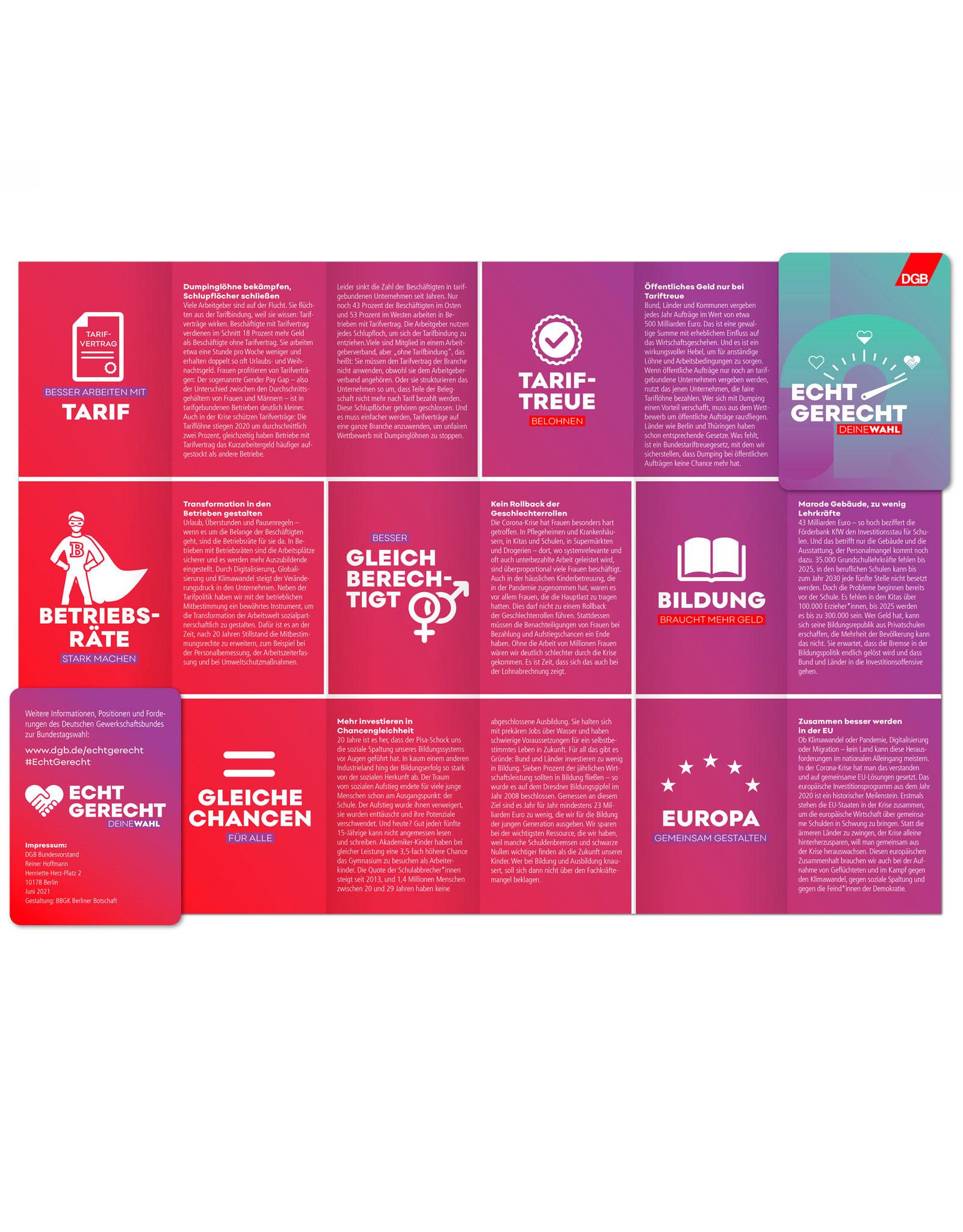 "Faltkarte zur Bundestagswahl-Kampagne ""Echt gerecht"" 2021"