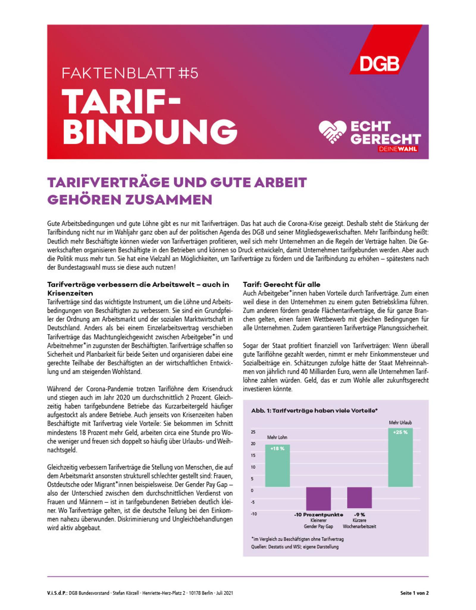 """Faktenblatt #5 Tarifbindung zur Bundestagswahl-Kampagne """"Echt gerecht"""" 2021"""