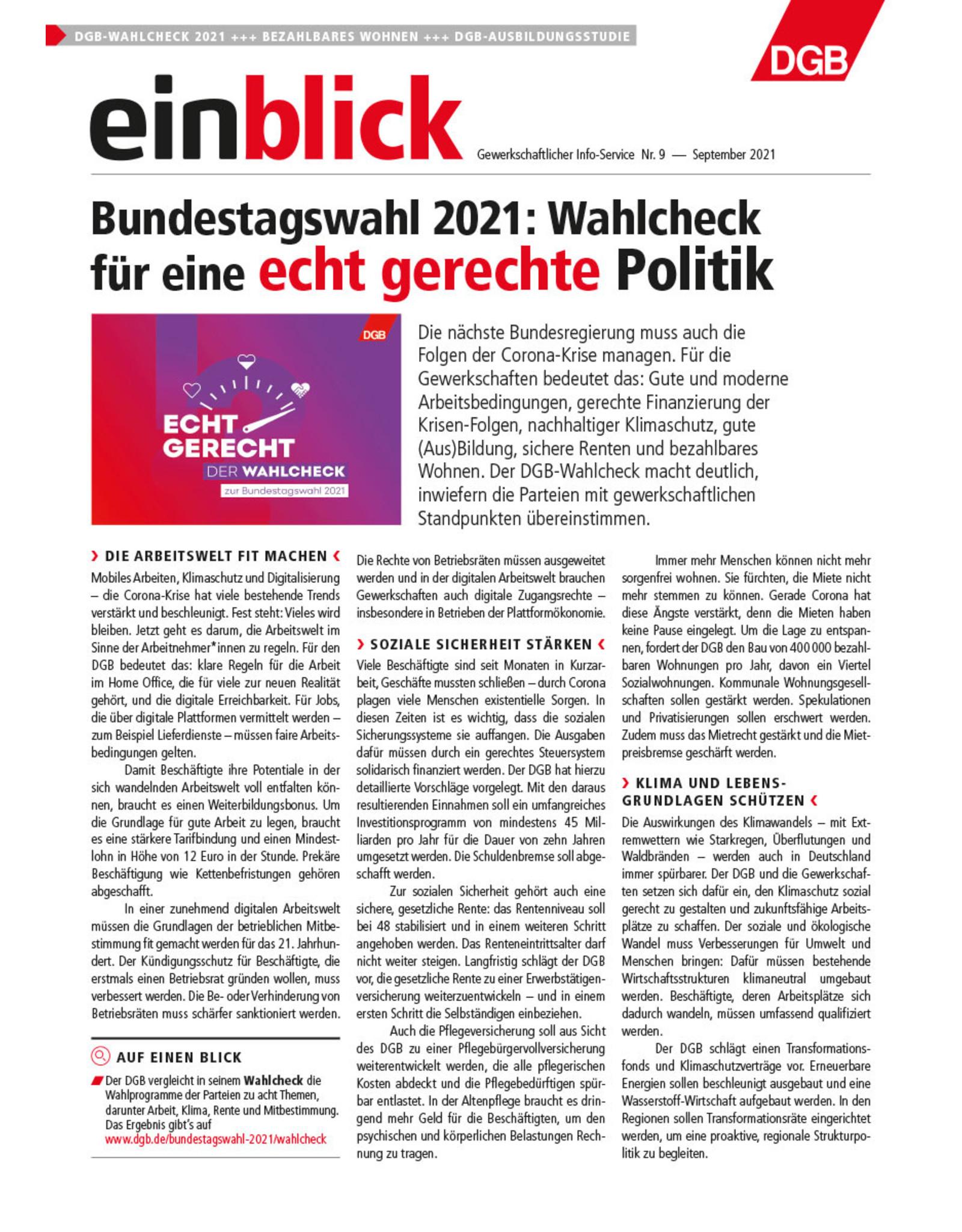 Zeitung einblick September 09/2021