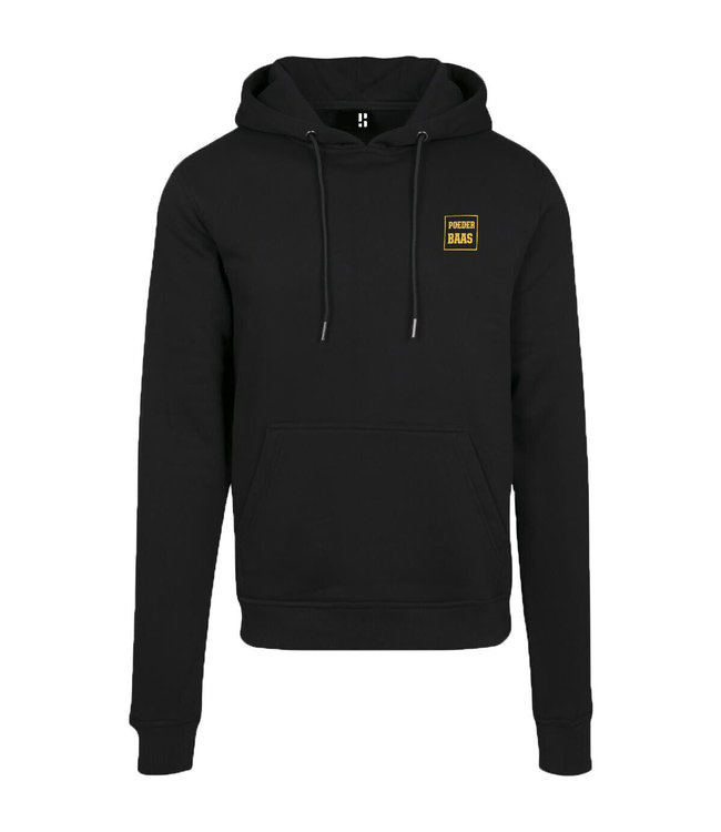 Black hoodie with small yellow logo print