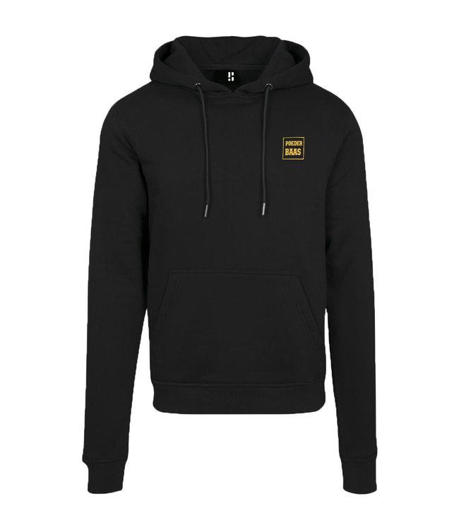 Zwarte hoodie met kleine gele logo opdruk