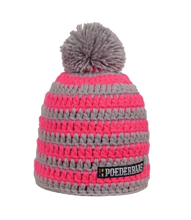 Gestreifte Skimütze - pink / grau