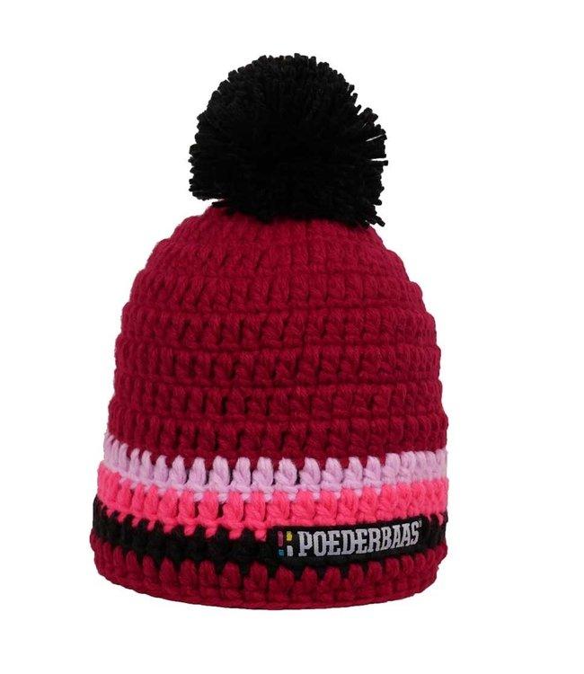 Feminine ski hat - Bordeaux red / pink / black