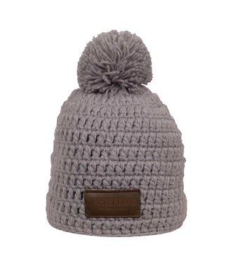 Gray crocheted hat with pompom