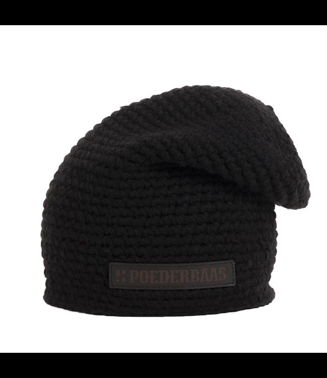 Häkeln Sie langen Hut mit Fleece - schwarz