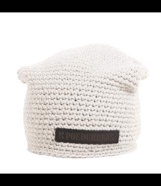 Gehäkelte Mütze mit Fleece - hellgrau