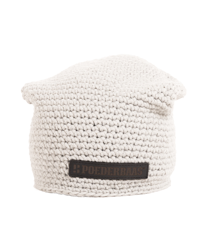 Crocheted hat with fleece - light gray