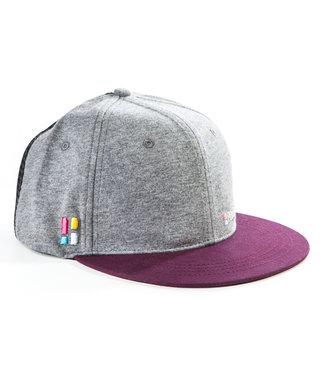 Snapback / cap met embleem - grijs/rood
