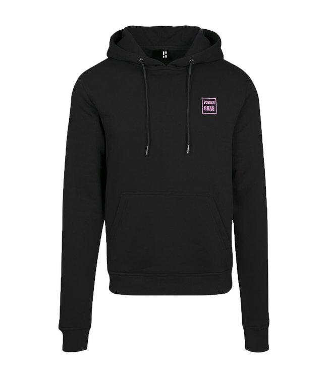 Black hoodie with subtle pink logo