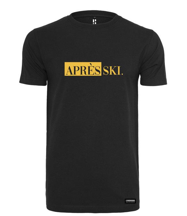Schwarzer APRES SKI. T-Shirt mit gelbem Aufdruck