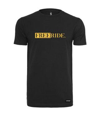 Schwarzer Freeride. T-Shirt mit gelbem Aufdruck