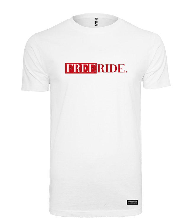 Weißer Freeride. T-Shirt mit rotem Aufdruck