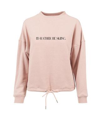 Pink ''I'd Rather Be Skiing'' Crewneck
